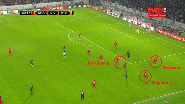 Фернанду, находясь под прессингом, выносит мяч вперед. Сразу же после этого красно-белые начинают перестраиваться.